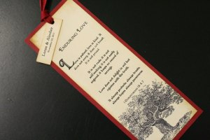 This is a sample bookmark wedding favor from Faithful Crafter on Etsy.
